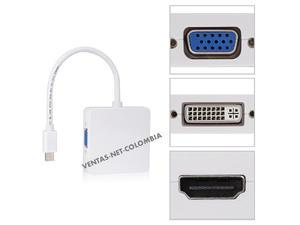 Cable 3 En 1 Mini Displayport Thunderbolt To Dvi Vga Hdmi