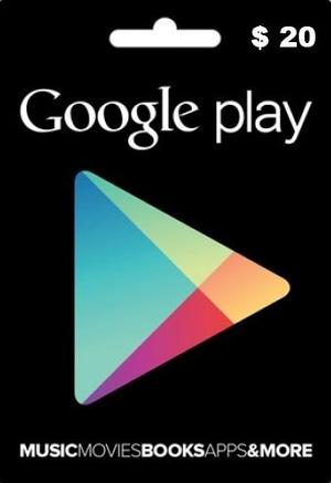 Tarjeta Google Play 20 Usd Entrega Inmediata