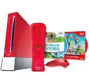 Vendo Nintendo Wii Rojo En Perfecto Estado Original 2 Juegos