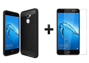 Forro Tpu Carbono Fiber + Templado 2d Huawei Y7 Prime