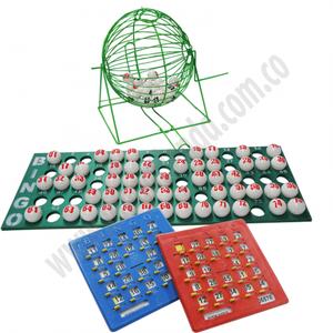 Juego Bingo Balotera Grande 20 Tabla Plástica de Colores