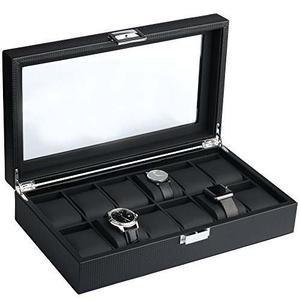 Mantello Negro Fibra De Carbono Caja De 12 Reloj