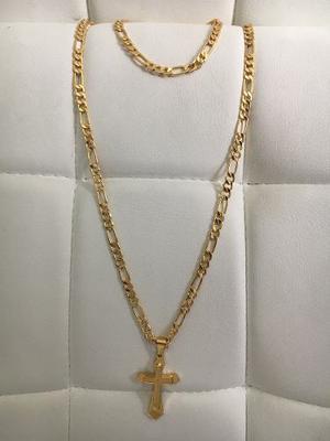 Cadena Cartier Acero Enchape En Oro 18k 24+esclava+dije Cruz