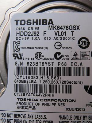 VENDO DISCO DURO 640GB TOSHIBA ORIGINAL COMO NUEVO