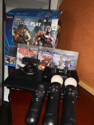 Playstation 3 Con 1 Control, Kitmove Y Caja, Como Nuevo
