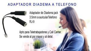 Adaptador Diadema - Auriculares Pc A Teléfono Fijo