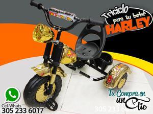 Triciclo Infantil Harley Dorado. Desde 20meses. Con espaldar