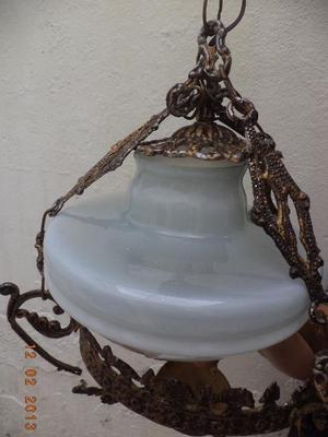 lampara de techo en vidrio y bronce