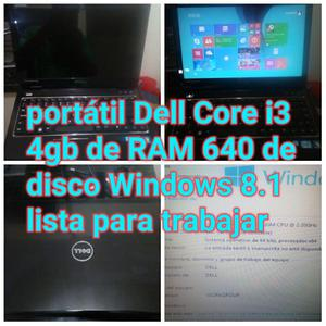 Portatil Dell Core I3 4gb de Ram 640 Dd como nueva bateria