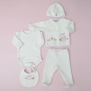 Primera muda de bebé rosa 4 piezas Ref 960 Kid House