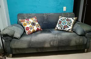 Vendo Moderno Sofá 2 Puff Tela Índigo