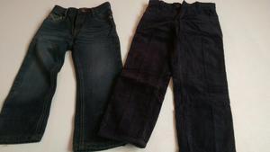 Pantalón Pana Azul Y Jean Gris Oscuro