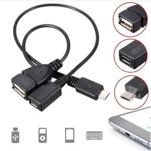 USB 2.0 A hembra a macho USB Micro B Izquierda Ángulo Micro