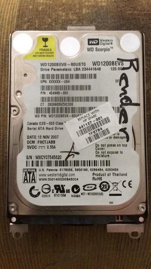 Disco Duro de Portatil 120Gb Wd