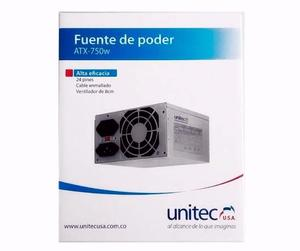 Fuente De Poder Unitec Atx750w Para Pc 750w Cable