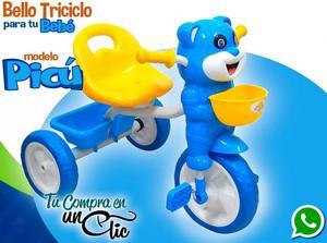 Triciclo de Bebé Musical PICÚ, asiento ancho y espaldar,
