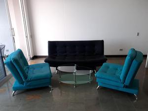 Juego de sala de 3 muebles click clack y mesa de centro