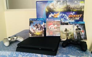 Play Station 4, 2 Controles Y 4 Juegos