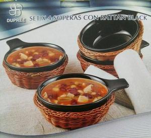 SET DE 4 SOPERAS EN RATAN BLACK  Nueva en su caja