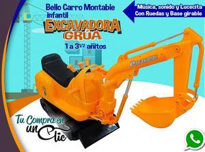 CARRO INFANTIL MONTABLE Excavadora, Musical, Luz, 1 a 3
