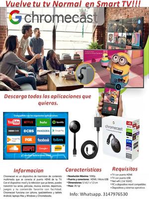 Google Chromecast Original VUELVE SMART TV TU TELEVISOR