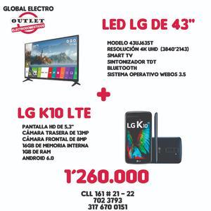 Gran promoción smart 4k de 43 pulgadas Celular Lg K10