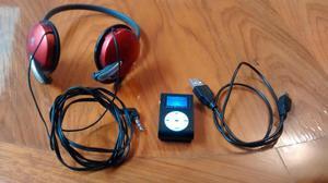 Potente Reproductor MP3, FM, Incluye Memoria 8GB y Audifonos