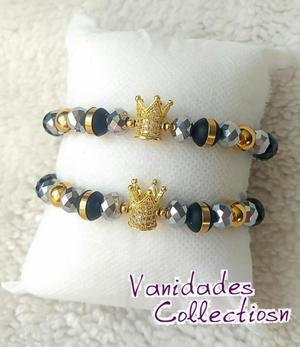 62d580414890 Pulseras para parejas novios coronas queen king