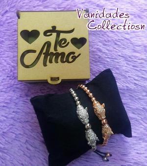 pulseras en acero para novios en caja de regalo