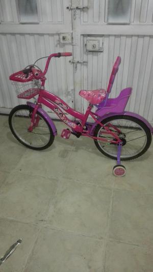 vendo hermosa bicicleta para niña con muñequero y