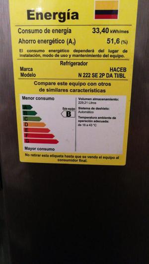 Nevera Haceb de 229 litros, con 6 meses de garantia, poco
