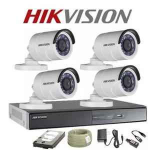Kit Hikvision CCTV DVR 8ch 4 Cámaras De Seguridad tipo Bala