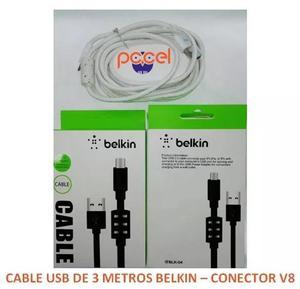 Cable De Datos Y Carga V8 Android De 3 Metros Pccel