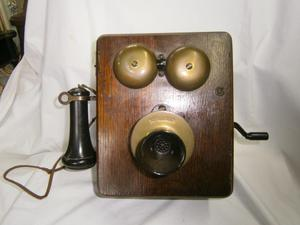 TELEFONO PARED MAGNETO KELLOGG, CHICAGO USA, MADERA ROBLE,