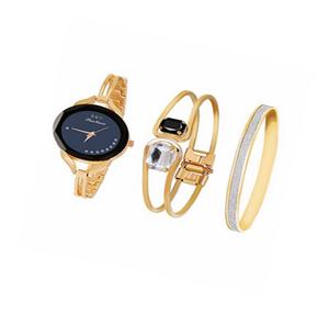 Reloj Para Mujer Muñeca Oro Rosa Daimon Set X 3 Negro