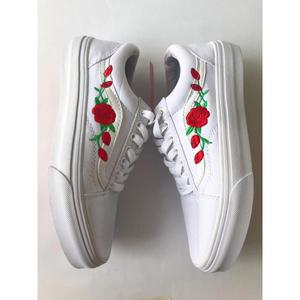 Tenis Zapatillas Vans Old Skool Blanca Rosas Mujer