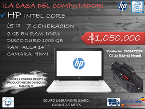 PORTATIL HP CORE i5, SEPTIMA GENERACIÓN