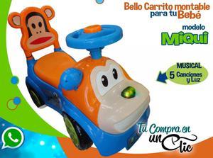 CARRO MONTABLE DE BEBÉ MIQUI, Bello,con luces de colores y