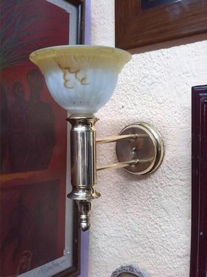 LAMPARA DE PARED EN BRONCE CON CRISTAL FRANCES