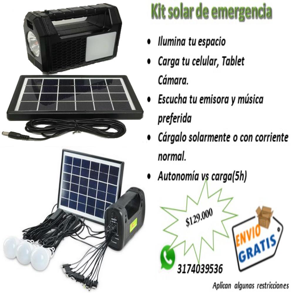 Venta de Kit solar,radio,mp3,bluetooth 3 bombillos,linterna
