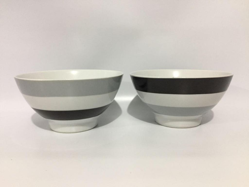 Tazones de porcelana diseño a rayas