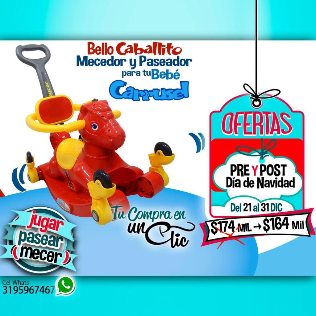CARRO PASEADOR DE BEBÉ CABALLITO MECEDOR, Musical. Ruedas