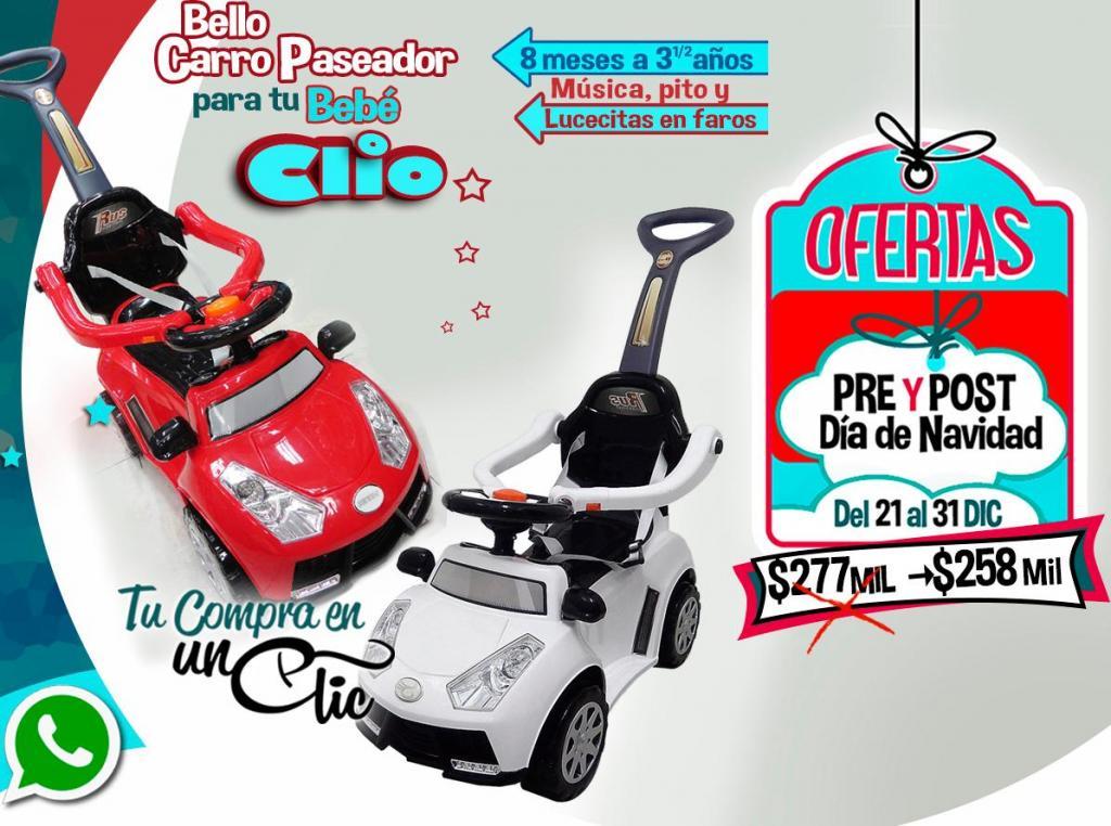 CARRO PASEADOR INFANTIL CLIO, Música, Luz en faritos,