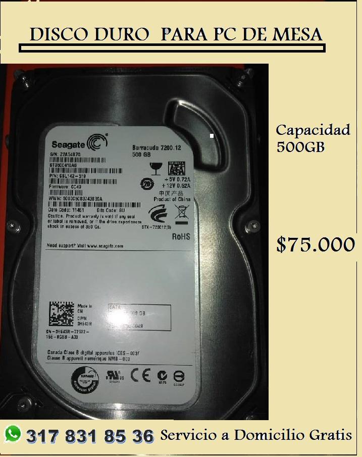 DISCO DURO 500GB PARA PC DE MESA