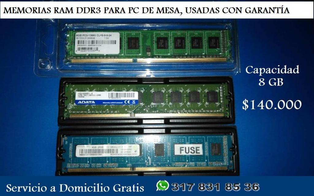 MEMORIAS RAM DDR3 PARA PC DE MESA, USADAS