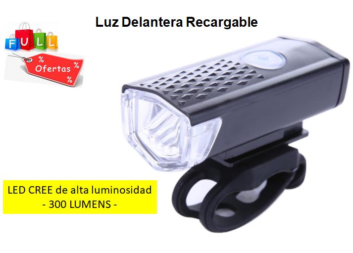 Linterna Luz LED Frontal Bicicleta Recargable USB soporte y