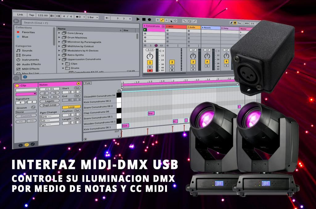 interfaz MIDI USB DMX control de luces Ableton Live, Reason