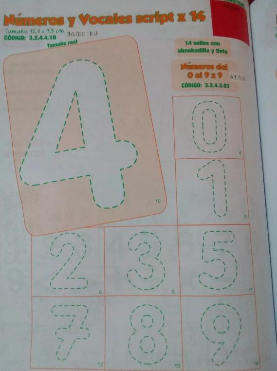Sellos Didácticos Números Del 0 Al 9 X 9