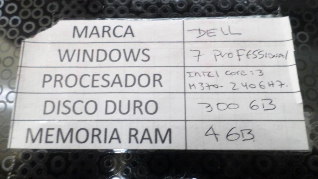 COMPUTADOR PORTATIL DELL CORE I3, DISCO 300 GB, MEMORIA 4 GB