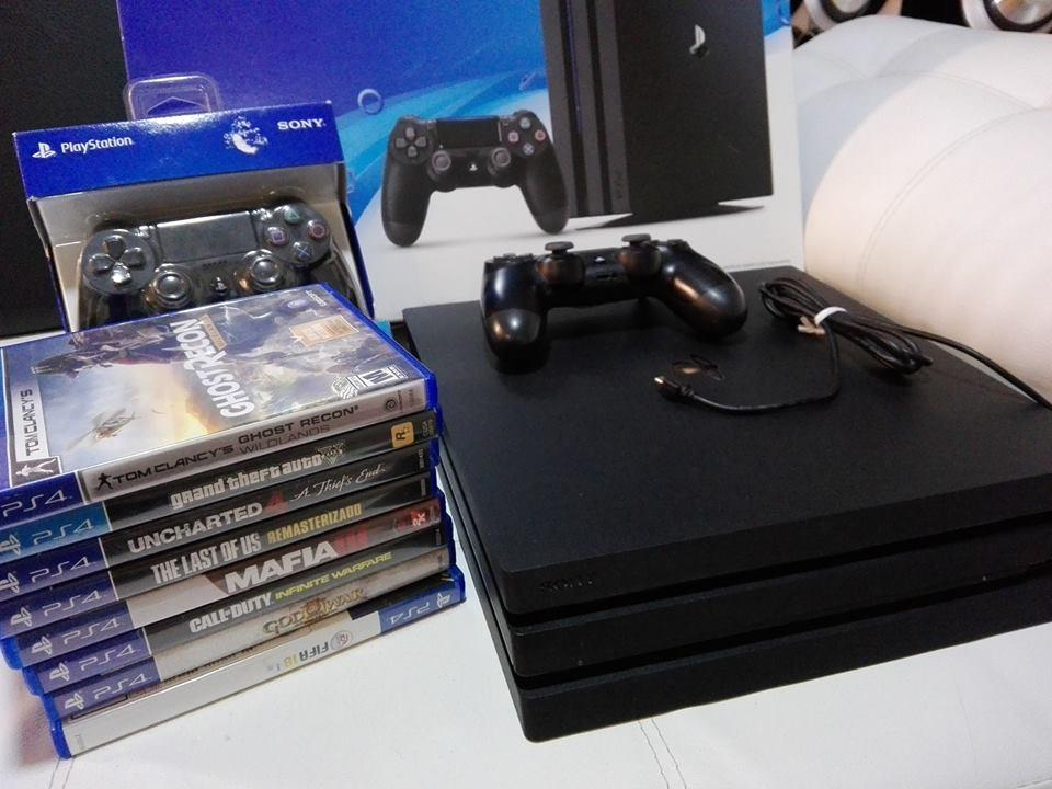 barato vendo ps4 pro 8 juegos 2 controles con plus